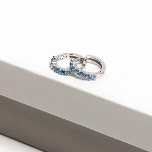 Blue Cubic Zirconia Hoop Earrings