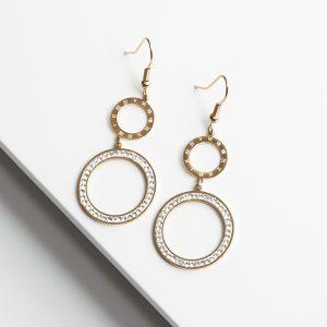 14K Gold Roman Numeral Hook Drop Earrings