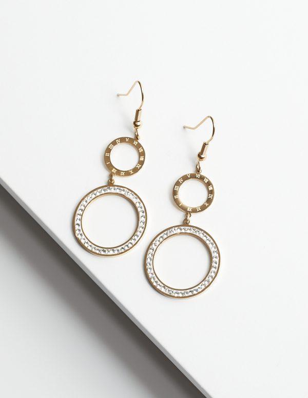 Callel 14K Gold Roman Numeral Hook Drop Earrings