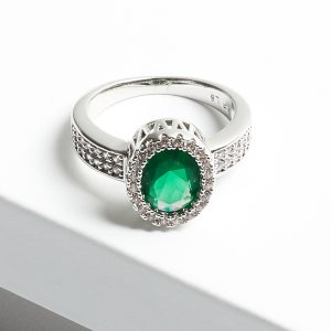 Luxury Green Cubic Zirconia Crystal Silver Ring