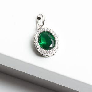 Green & Silver Oval Cubic Zirconia Pendant