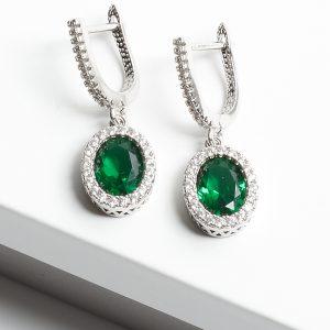 Green & Silver Oval Cubic Zirconia Latch Back Earrings