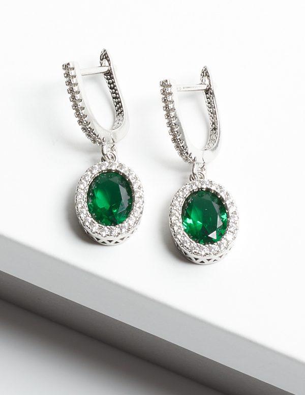Callel Green & Silver Oval Cubic Zirconia Latch Back Earrings