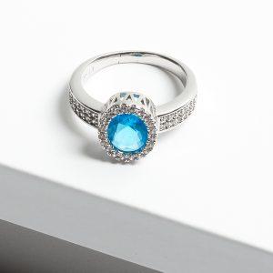 Luxury Aquamarine Cubic Zirconia Crystal Silver Ring