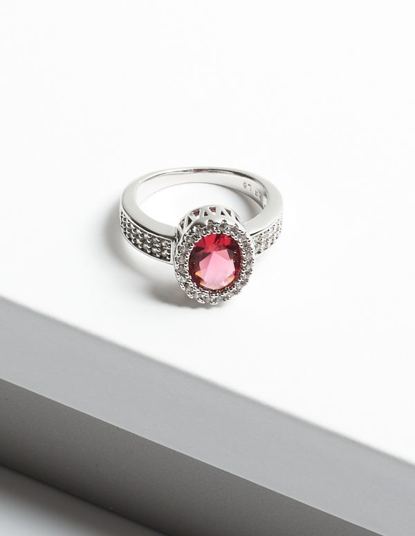 Callel Luxury Pink Sapphire Cubic Zirconia Crystal Silver Ring