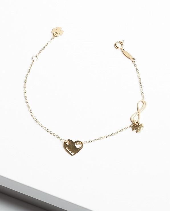 Callel 14K Gold Infinity & Heart & 4 Leaf Clover Celebrity Bracelet