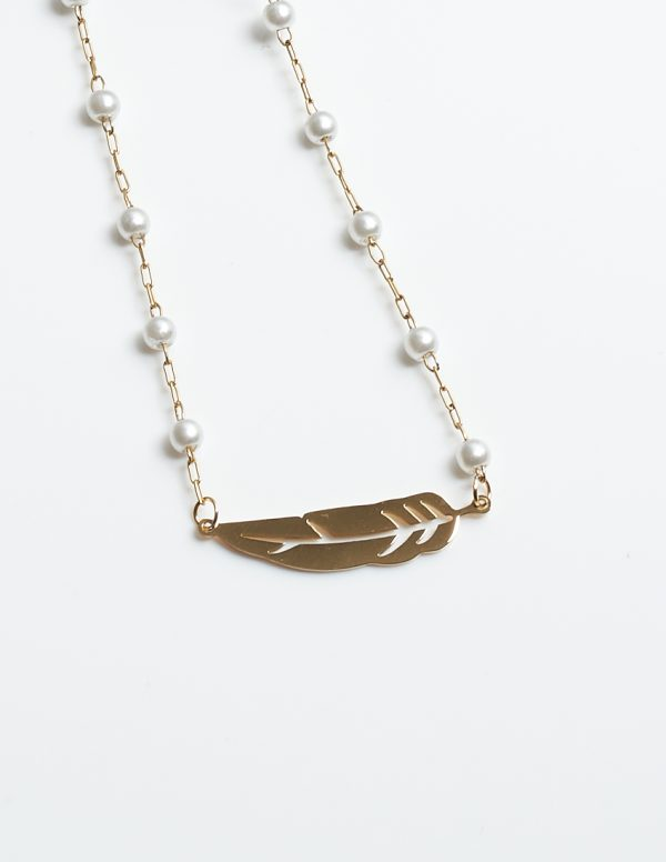 Callel Feather Pearl Necklace