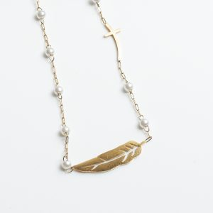 Gold-Tone Pearl & Feather & Cross Necklace