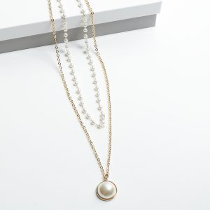 14K Gold & Pearl Double Leayer Celebrity Necklace