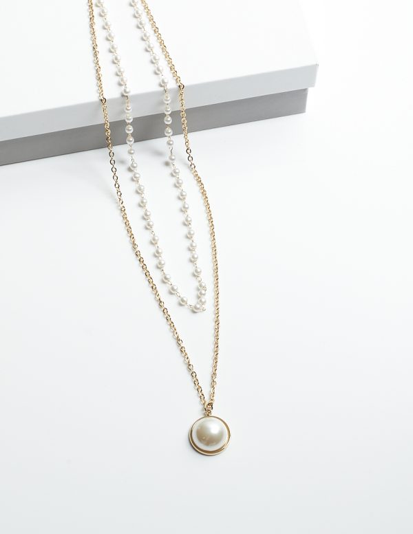 Callel 14K Gold & Pearl Double Leayer Celebrity Necklace