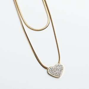 14K Gold Double Layered Chain Cubic Zirconia Heart Necklace