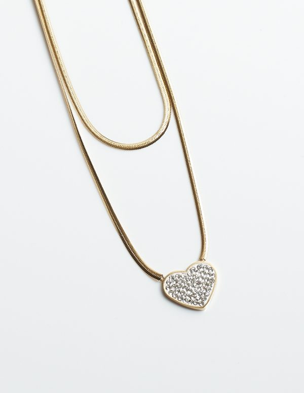 Callel Gold Double Layered Chain Cubic Zirconia Heart