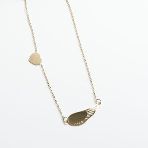 14K Gold Heart & Angel Wing Celebrity Necklace