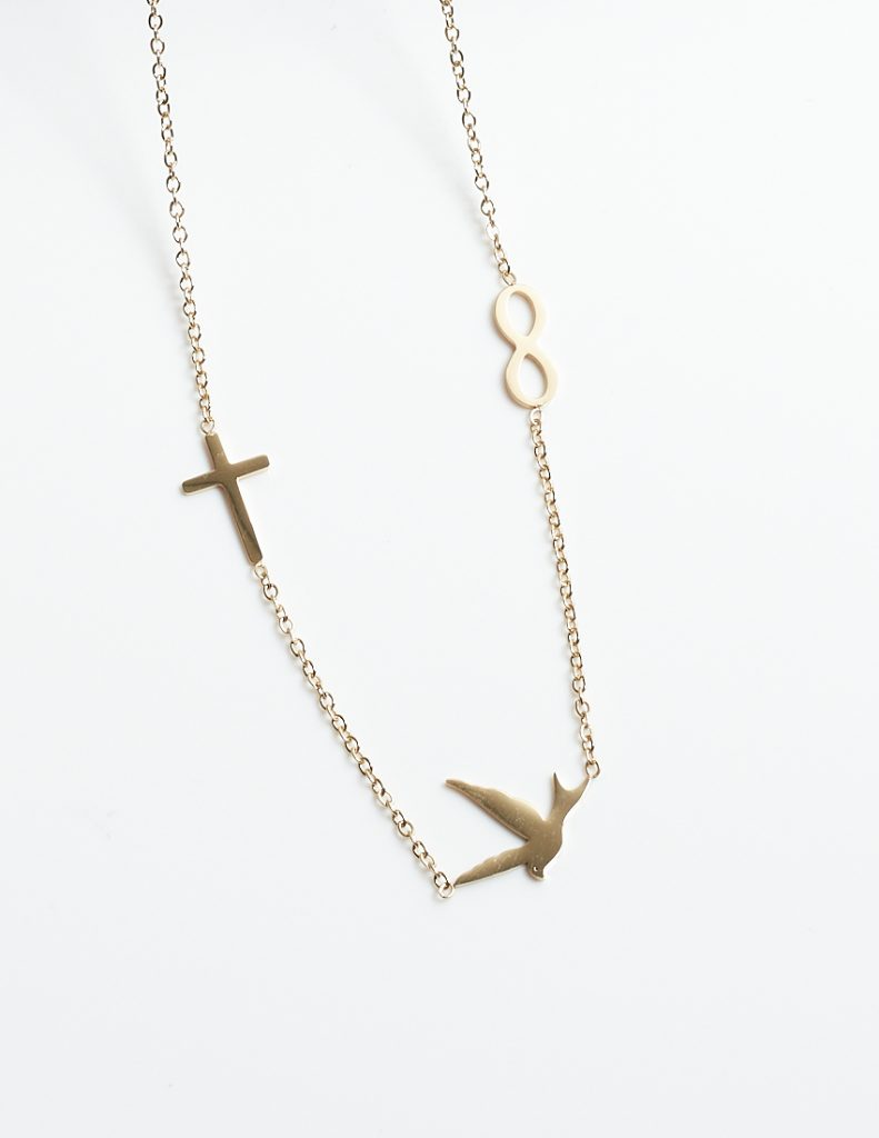 Callel Gold Swallow Bird & Cross & Infinity On 14K Gold Celebrity Chain Necklace