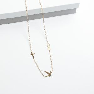 14K Gold Swallow Bird & Cross & Infinity Celebrity Chain Necklace