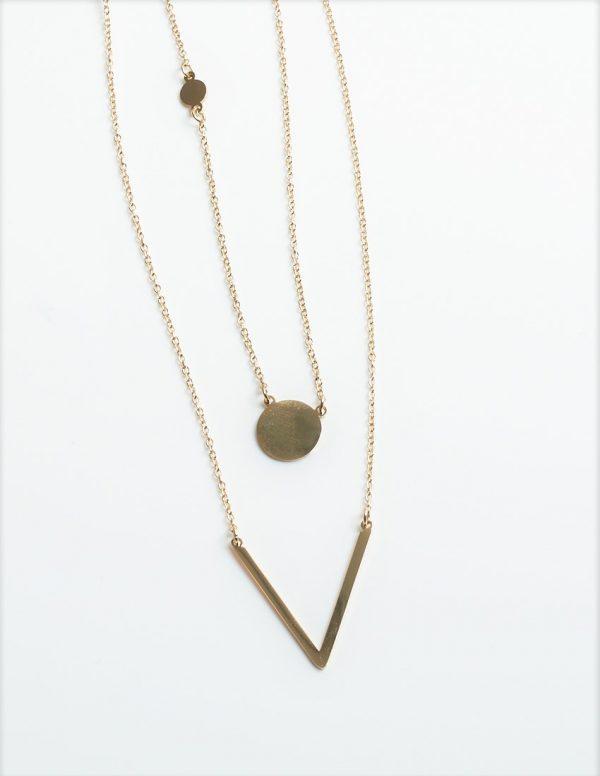 Callel Double Layered V Neck Celebrity Necklace