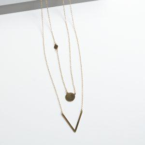 Double Layered V Neck Celebrity Necklace