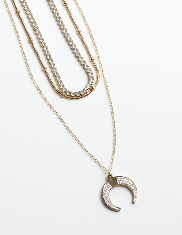 Callel 3 Layered Cubic Zirconia Moon Celebrity Necklace