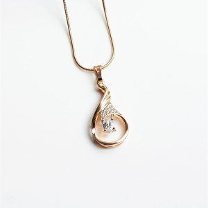 18K Gold Cubic Zrirconia Tear Drop Pendant Necklace