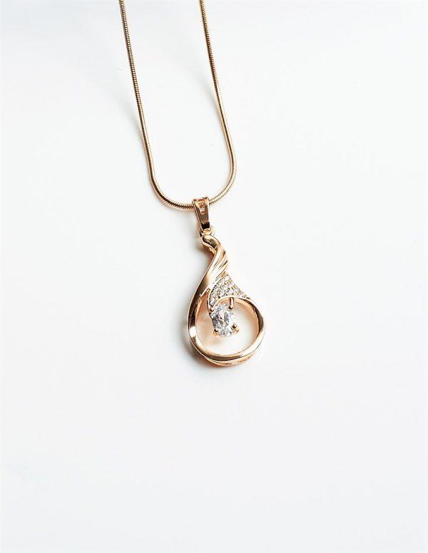 Callel 18K Gold Cubic Zrirconia Tear Drop Pendant Necklace