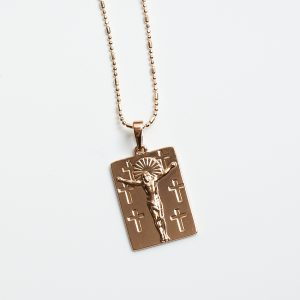 18K Gold Jesus Piece Necklace