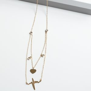 14k Gold Heart & Life Line Celebrity Necklace