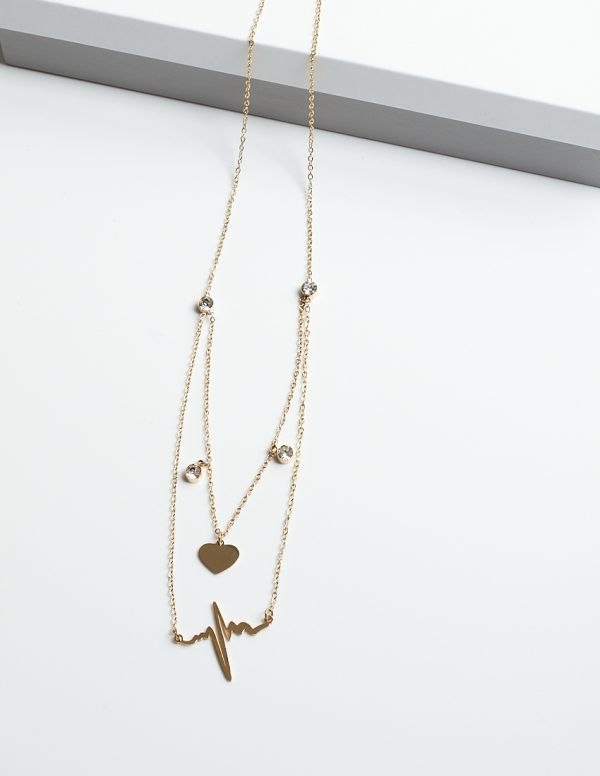 Callel 14k Gold Heart & Life Line Celebrity Necklace