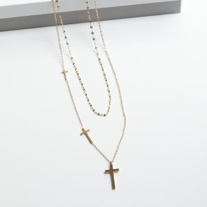 14K Gold Double Layered Cross Celebrity Necklace