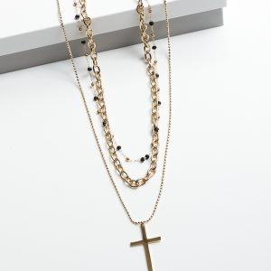 14K Gold 3 Layered Cross & Black Beads Chain Celebrity Necklace