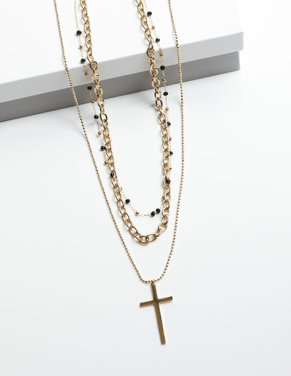 Callel 3 Layered Cross & Black Beads Chain Celebrity Necklace