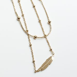 14K Gold Double Layer Feather Celebrity Necklace