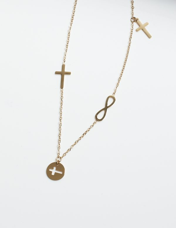 Callel 14K Gold Cross & Infinity Celebrity Chain Necklace