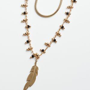 Black & Gold Beads Celebrity Necklace