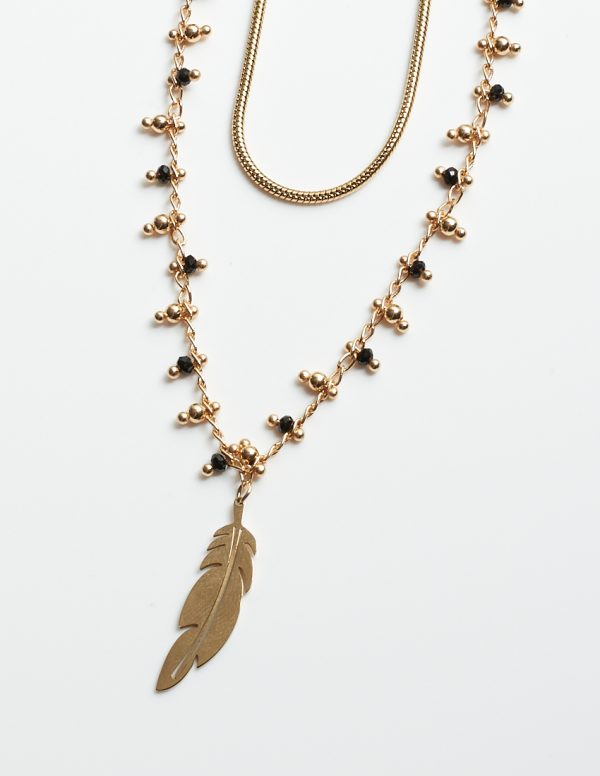 Callel Black & Gold Beads Celebrity Necklace