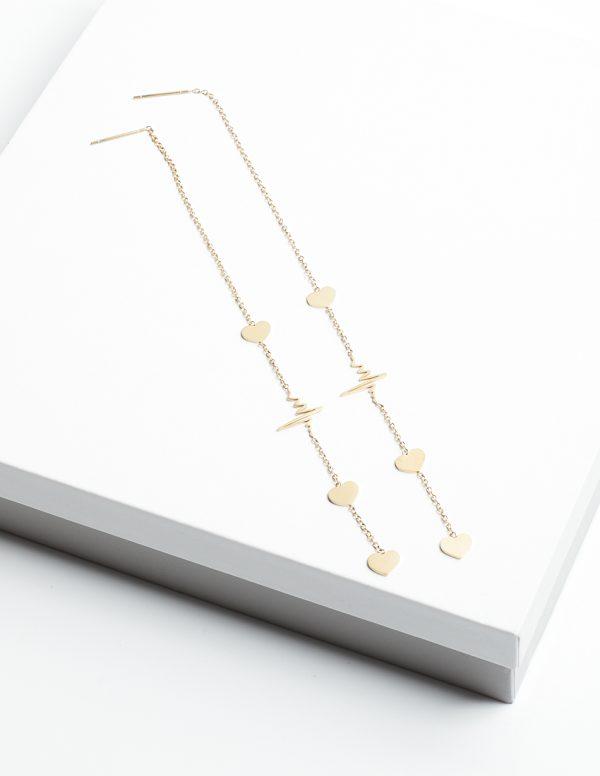 Callel Life Line & Heart Threader Earrings
