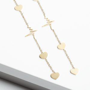 Life Line & Heart Note Long Threader Earrings