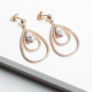 18K Gold Luxury Cubic Zirconia Dangle Drop Earrings