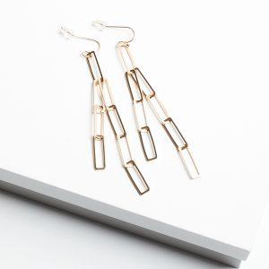 18K Gold Chain Hook Earrings