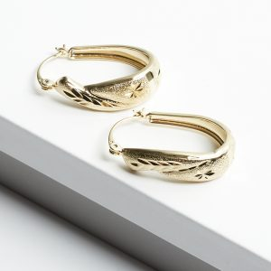 14K Gold Thick Patterned Creole Earrings