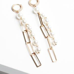 18K Gold Chain & Pearl Drop Hoop Huggie Earrings