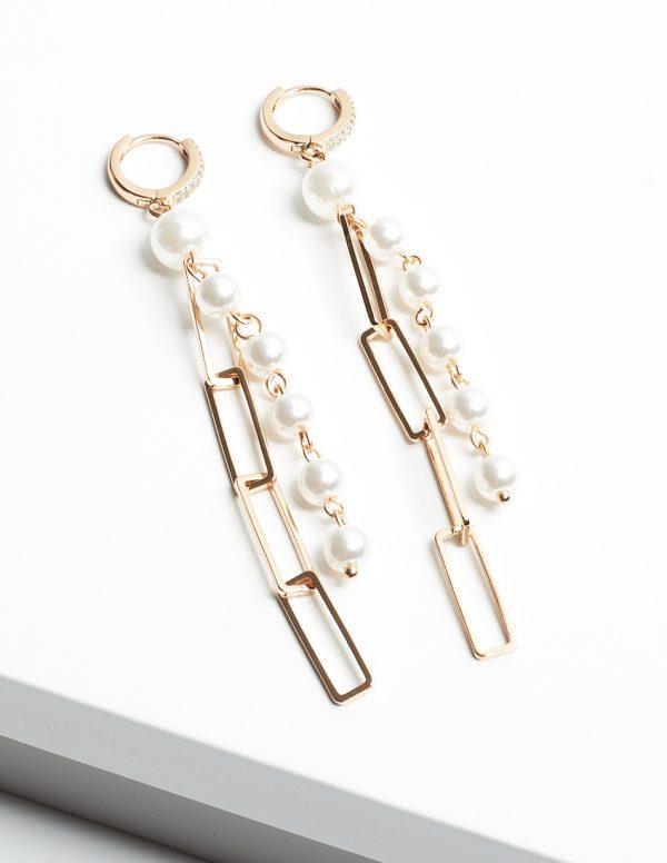 Callel 18K Gold Chain & Pearl Drop Hoop Huggie Earrings