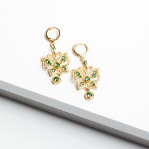 24K Gold Butterfly Drop Dangle Earrings