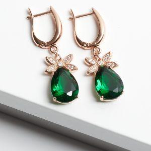 Rose Gold Emerald Drop Dangle Earrings
