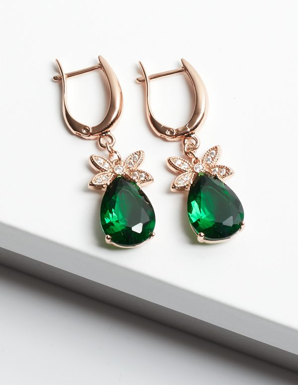 Callel Rose Gold Emerald Drop Dangle Earrings