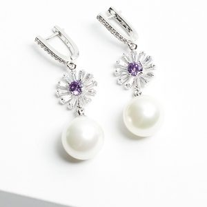 Pearl Drop Earrings with Floral Detail and Cubic Zirconia Stones