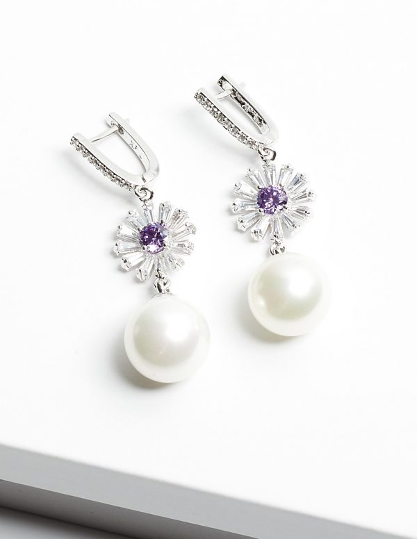 Callel Pearl Drop Earrings with Floral Detail and Cubic Zirconia Stones