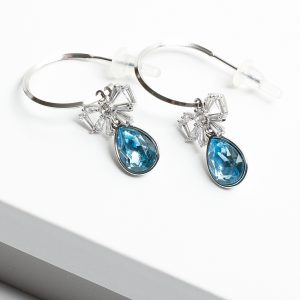 Half Hoop Drop Earrings Embellished With Blue Crystal From Swarovski