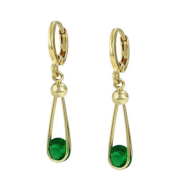 Callel Gold Plated Green Cubic Zirconia Dangle Earrings