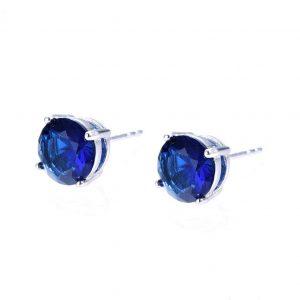 Dark Blue Cubic Zirconia Stud Earrings In Silver