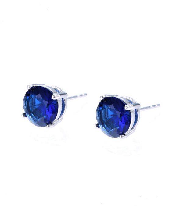 Callel Dark Blue Cubic Zirconia Stud Earrings In Silver